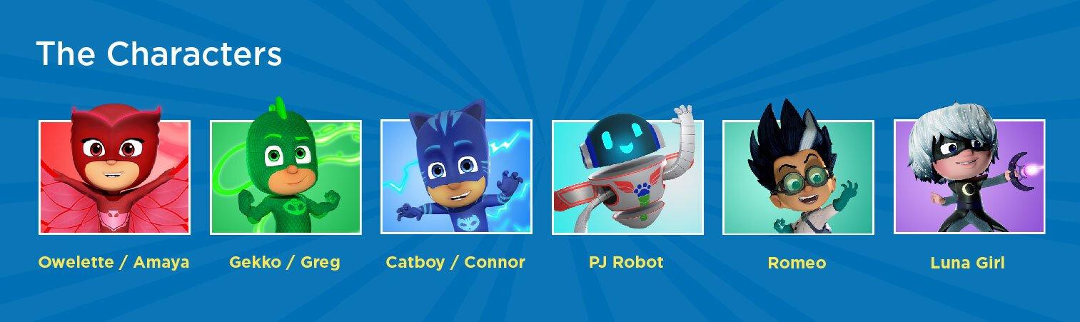 PJ Mask characters, Owlette, catboy, gekko, romeo, luna girl