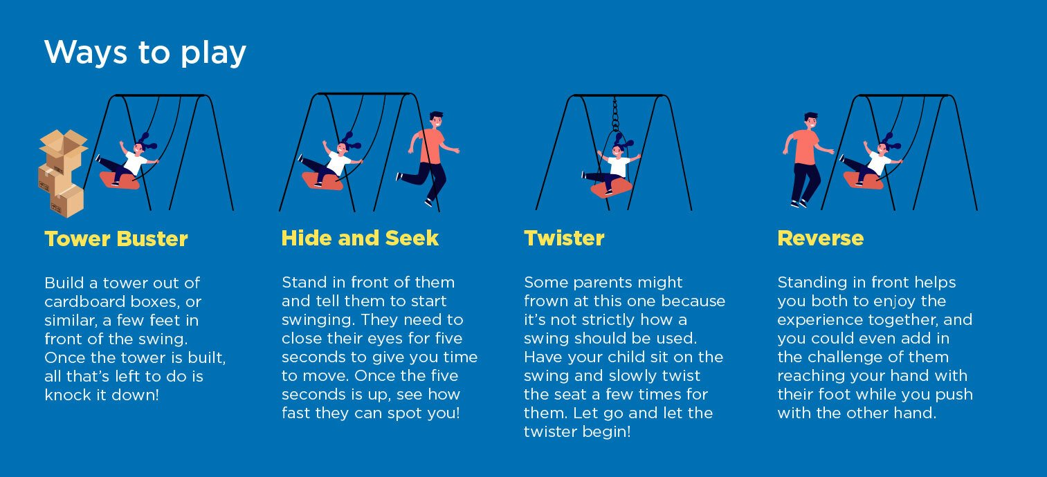 best toddler swings, ways to play on a toddler swing, toddler swing games,